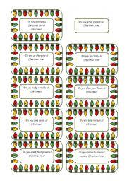 English Worksheet: Christmas Conversation Cards 1 of  5