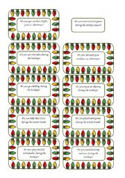 English Worksheet: Christmas Conversation Cards 2 of  5