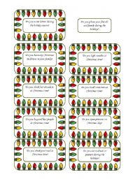English Worksheet: Christmas Conversation Cards 3 of  5