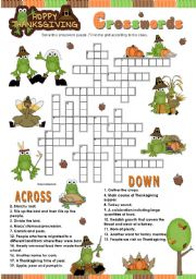 HAPPY THANKSGIVING crosswords