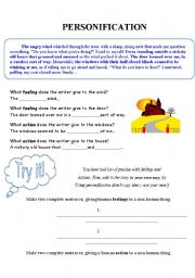 Printables Personification Worksheets english teaching worksheets personification personification