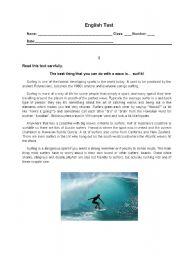 English Worksheet: English Test - 10th grade - Sports