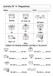 English teaching worksheets: Prepositions