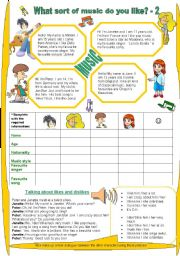 English Worksheets: What sort of music do you like? 2