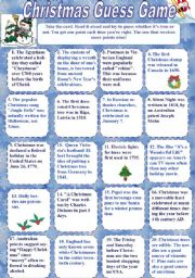 English Worksheet: Christmas Guess Game (with KEYS)