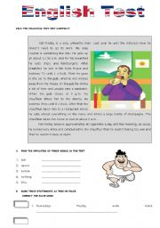 English Worksheet: Test about Daily Routine-Unhealthy habits