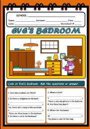 English Worksheet: EVE�S BEDROOM