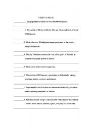 English Worksheet: Cultural True or False about Mexico