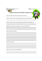 English Worksheet: Getting to Know the World�s Greatest Artists Worksheet