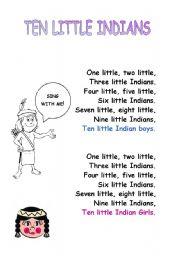 English Worksheet: indians song