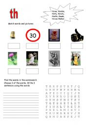 English Worksheets: Th-words