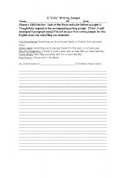 English Worksheets: 1st Day Writing Sample