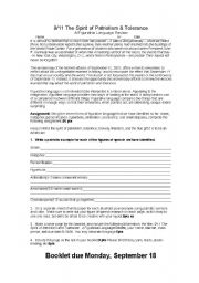 English Worksheets: 9/11 Writing Activity
