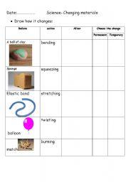 English Worksheets: changing materials