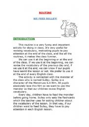 English Worksheets: Routine: We feed Sulley!