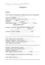 english teaching worksheets ordering food. Black Bedroom Furniture Sets. Home Design Ideas