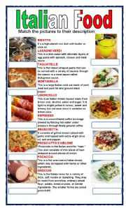 English Worksheet: (set 8/8) ITALIAN FOOD