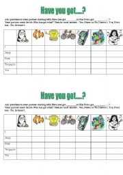 English Worksheets: battleship with have you got?