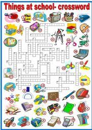 English Worksheet: THINGS AT SCHOOL - CROSSWORD (B&W VERSION INCLUDED)