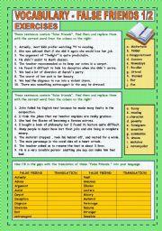 English Worksheet: FALSE FRIENDS VOCABULARY 1/2