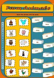 English Worksheet: Farm Animals Matching