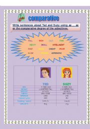 English Worksheet: comparative equality and superiority ( 2pages)