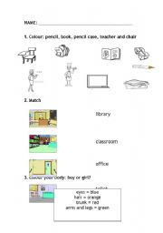 English Worksheets: SCHOOL AND BODY