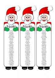 worksheet Silly Santa Verb Bookmarks