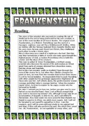 English Worksheet: Frankenstein (reading - 2 pages)