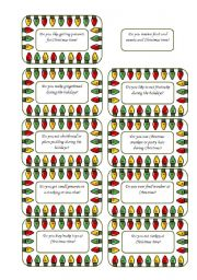 English Worksheet: Christmas Conversation Cards 5 of  5