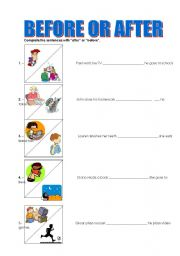 English Worksheet: BEFORE OR AFTER