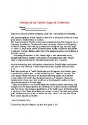 English teaching worksheets: 12 Days of Christmas