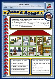 English Worksheet: JANE�S HOUSE