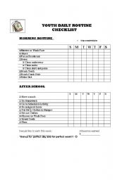English Worksheets: youth daily checklist