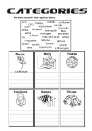 Intermediate ESL worksheets: Categories