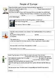 English Worksheet: Visting Europe - Learn about 5 European countries