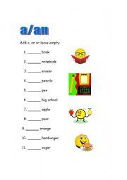 Printables A An Worksheets english teaching worksheets aan worksheet
