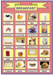 English Worksheet: Breakfast Pictionary