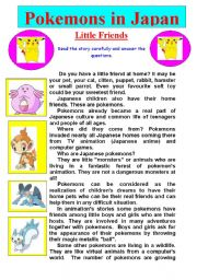 English Worksheet: Pokemons in Japan. Little Friends. Story and Questions.