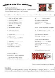 English Worksheets: America (West Side Story), 2 pages of activities