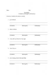 English Worksheets: interrogative, exclamatory, declarative