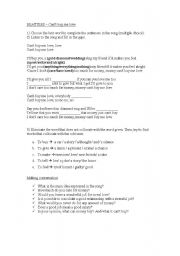 English worksheet: Can´t buy me love - Song activity
