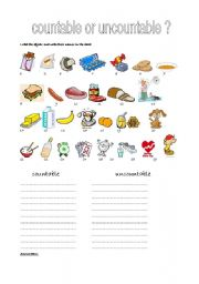 English Worksheets: countable or uncountable ?