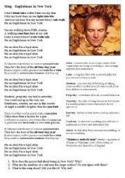 English Worksheet: Song Warmer Activity: Sting - Englishman In New York