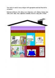 English Worksheet: My house, crossword