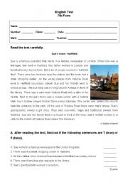 English Worksheet: English test - 7th grade (Part I)