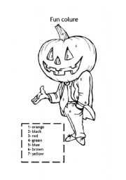 English worksheet: Halloween pumpkin coloring sheet