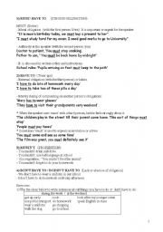 English Worksheet: Modal verbs: obligation/prohibition