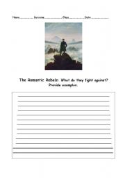 English Worksheets: The Romantic Rebels: What do they fight against?