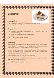 English Worksheets: Easy strawberry cheesecake